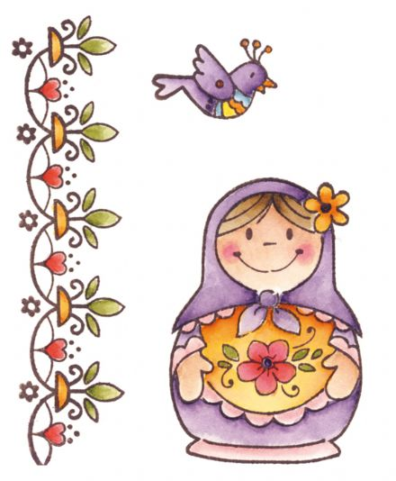 EC0129 ~ Eline's Russian Doll ~ Eline's Folklore ~ Marianne Designs Clear stamp